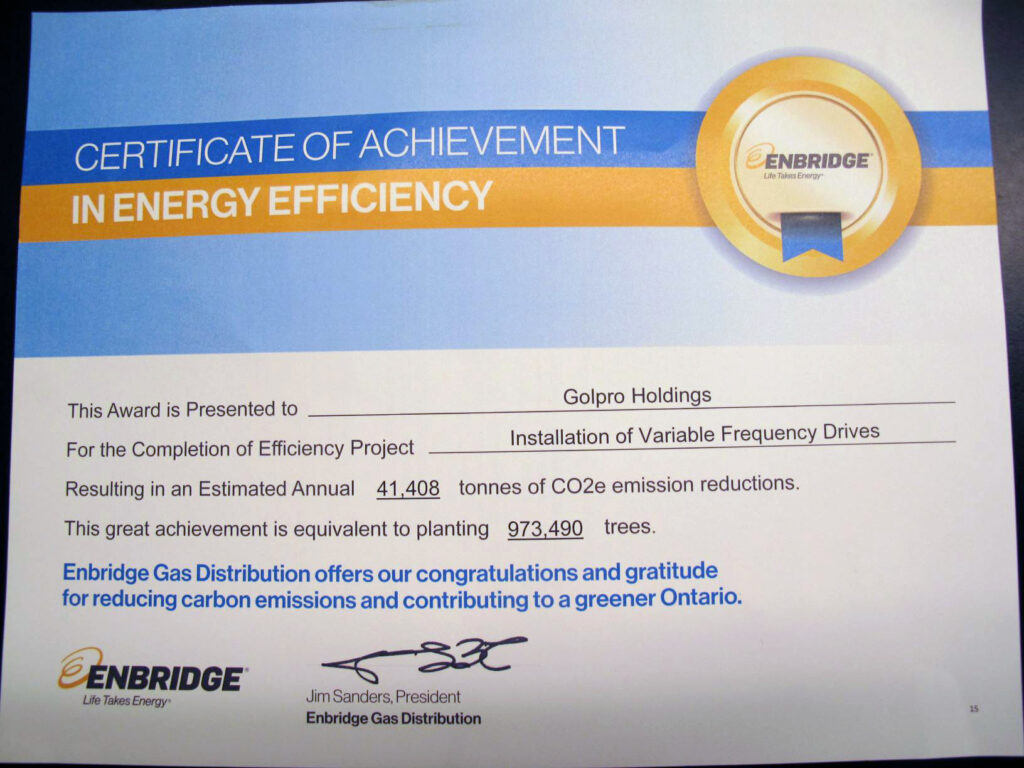 Certificate of achievement in energy effeciency from Enbridge
